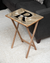 Tan Herringbone / Printed Initial Design Wood Tray Table, Natural Finish