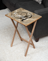 Tan Herringbone / Script Initial Design Wood Tray Table, Natural Finish