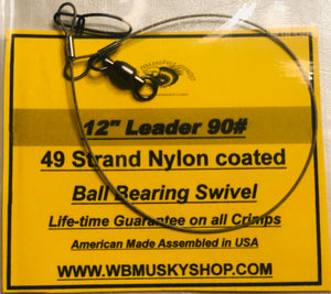 "12"" 90# Nylon Coated Wire Leader - WB Musky Shop"