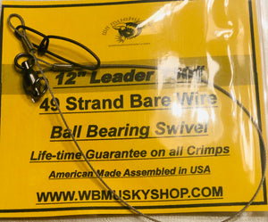 "12"" 130# Bare Wire Leader - WB Musky Shop"