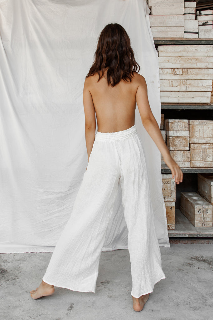 Akasha Cotton Pants- White