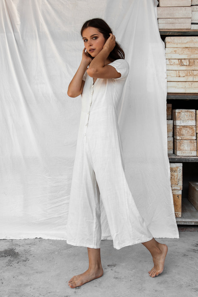 London Linen Jumpsuit - White