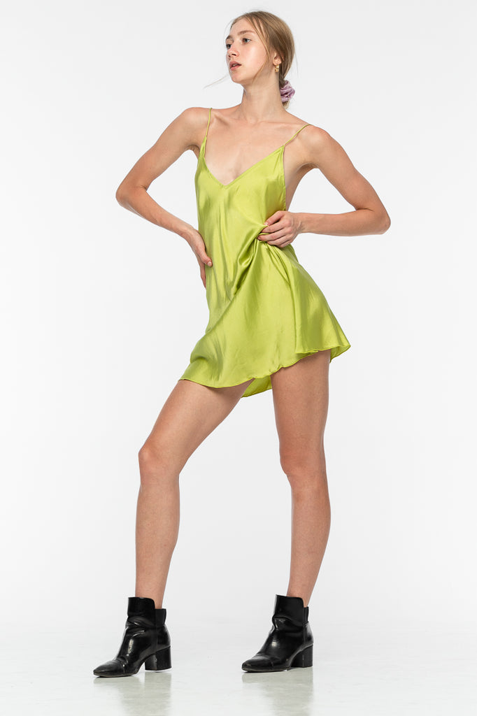 Lily Mini Silk Dress - Lime