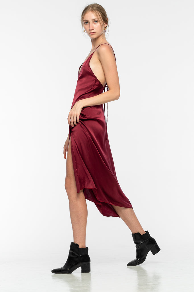 Lily Silk Dress - Maroon