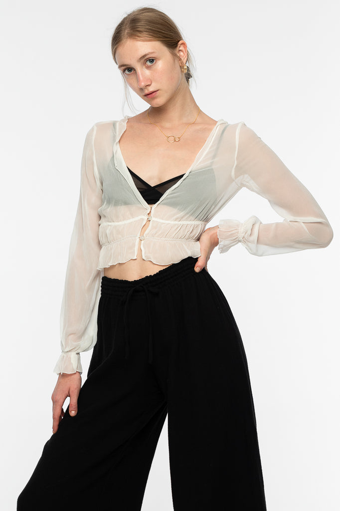 Zena Silk Chiffon Top - White