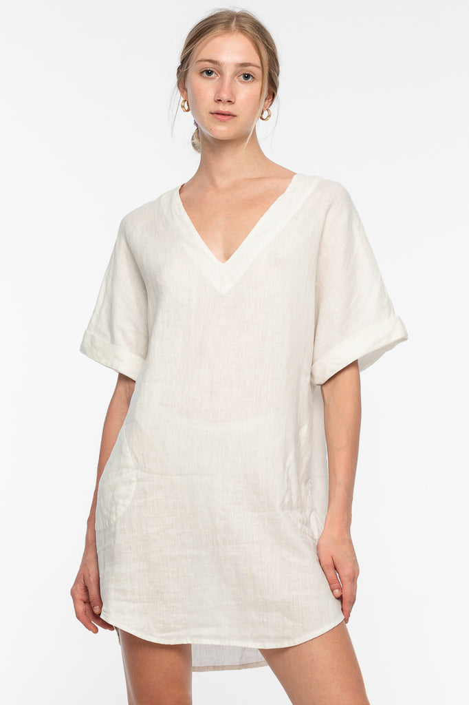 Margie Ramie Dress - White