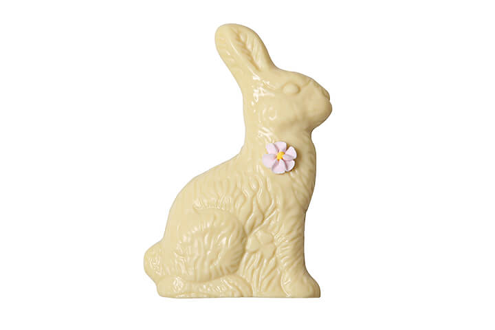 Solid White Chocolate Bunny with Flower