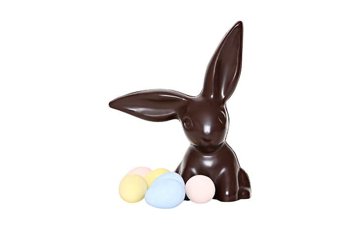 Dark Chocolate Bunny with Floppy Ears and Candy Coated Chocolate Eggs