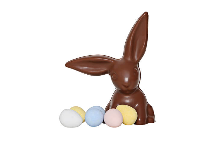 Milk Chocolate Bunny with Floppy Ears and Candy Coated Chocolate Eggs