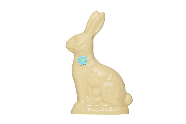 White Chocolate Hollow Bunny with Flower