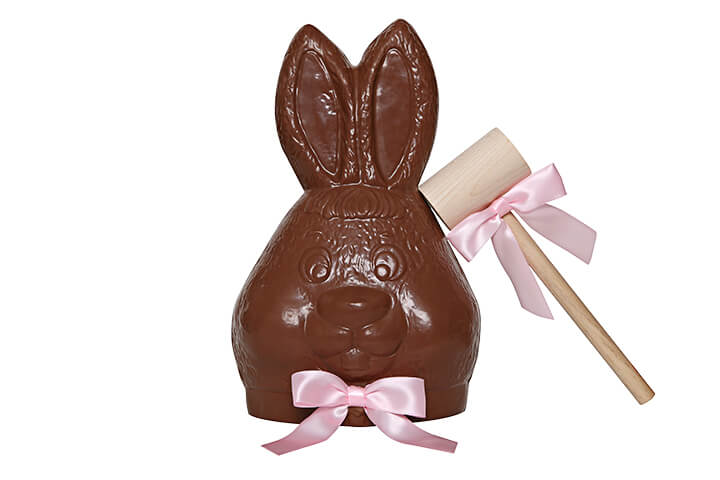 Milk Chocolate Bunny Head Filled with Milk, White and Dark Toffee Almond Biscuit with Mallot