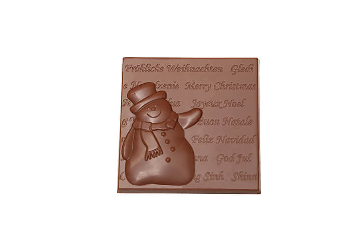 Milk Chocolate Christmas Card with Snowman