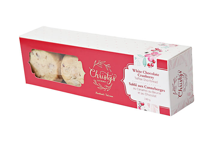 White Chocolate and Cranberry Toffee Shortbread in Box