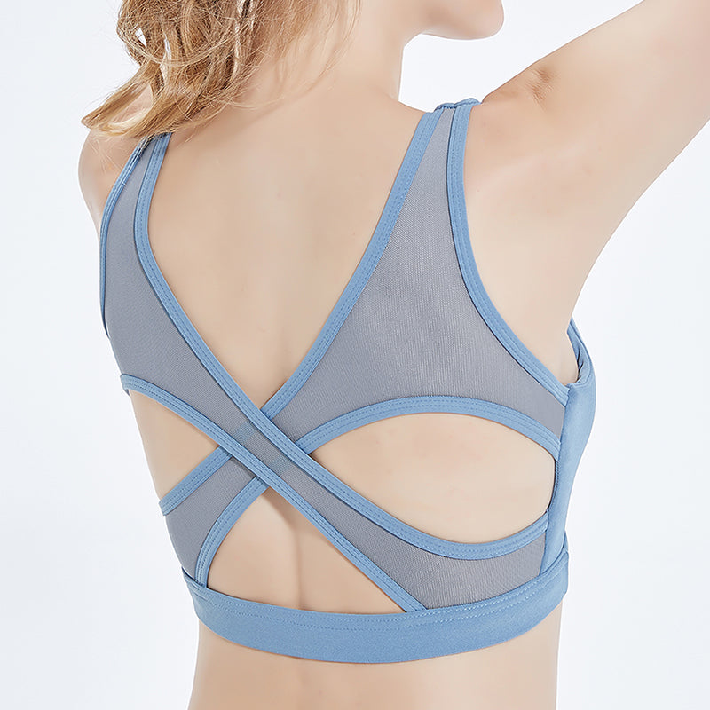 Astoria LUXE Mesh Crossed Sports Crop - Blue