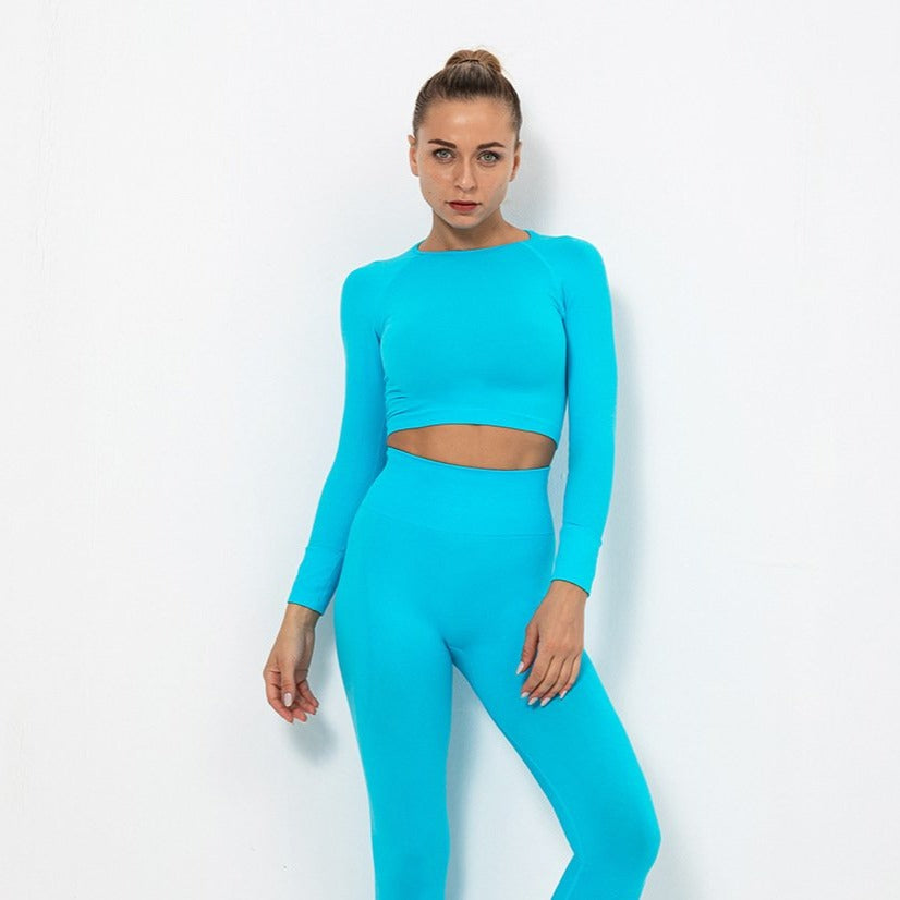 Astoria TEMPO Sleeved Crop - Sky Blue
