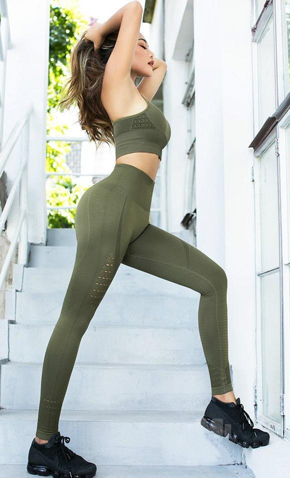 Astoria Seamless Full Length Legging - Army Green