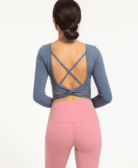 Astoria Ribbed Open-Back Crop - Dusty Blue