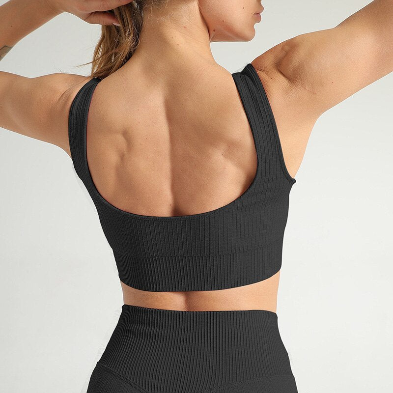 Astoria Seamless Ribbed Sports Bra - Black