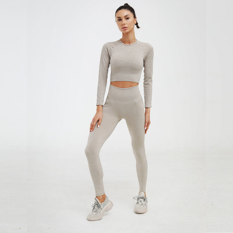 Astoria Seamless Ribbed Sleeved Crop - Khaki