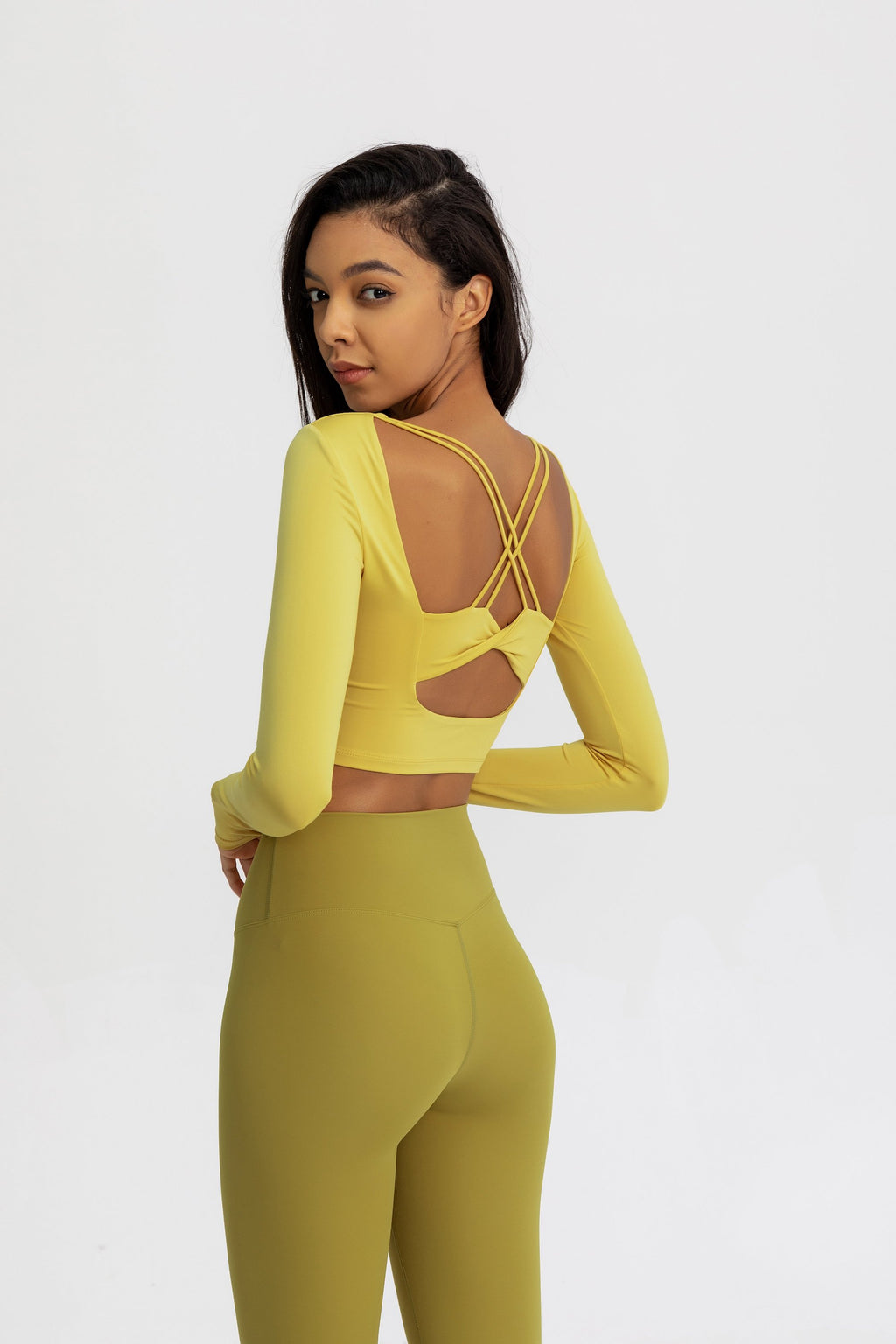 Astoria Seamless Sculpt Crossed Crop - Yellow