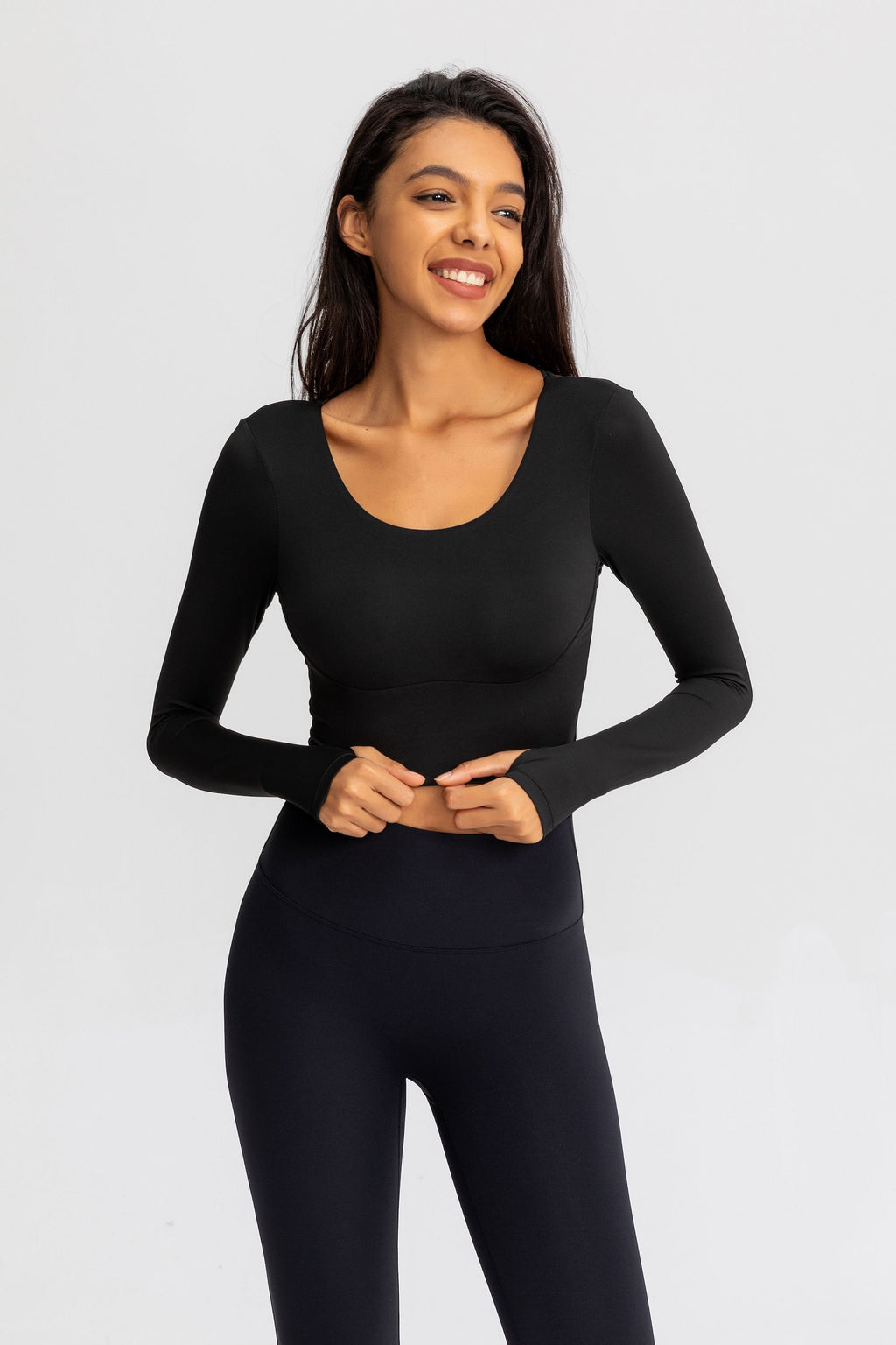 Astoria Seamless Sculpt Crossed Crop - Black