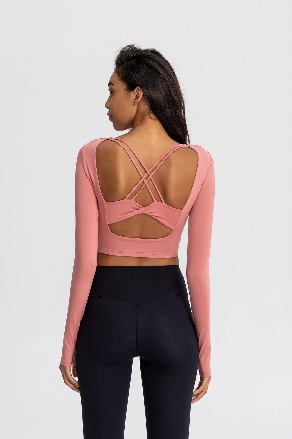 Astoria Seamless Sculpt Crossed Crop - Peach