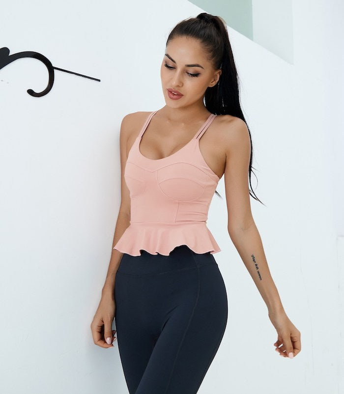 Astoria LUXE Ruffle Sports Crop - Pink