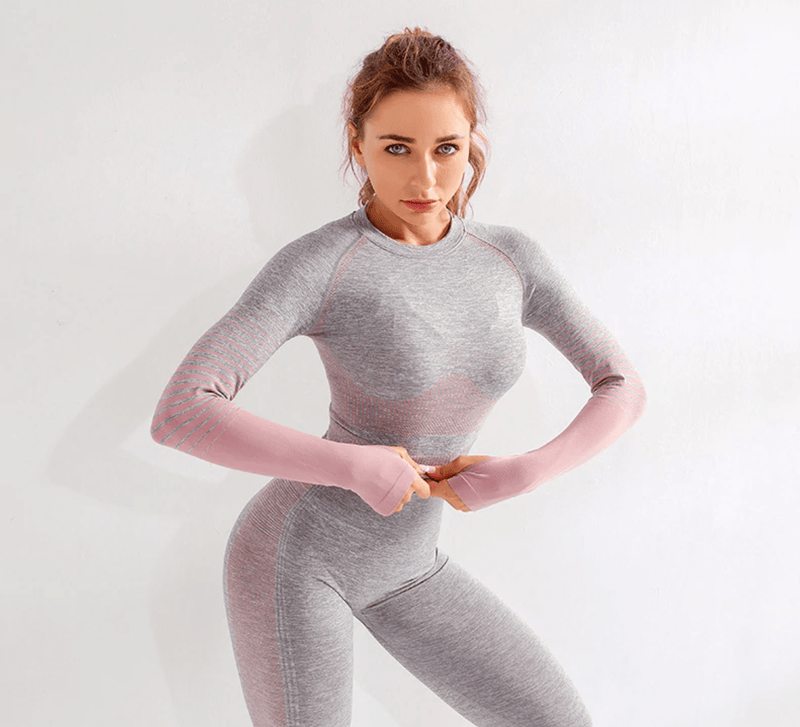 Astoria ENERGY Sleeved Crop - Grey/Pink