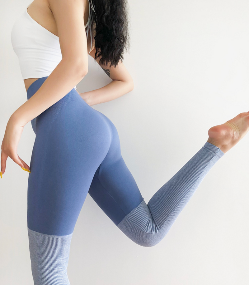 Astoria Seamless Knit Contrast Legging - Blue