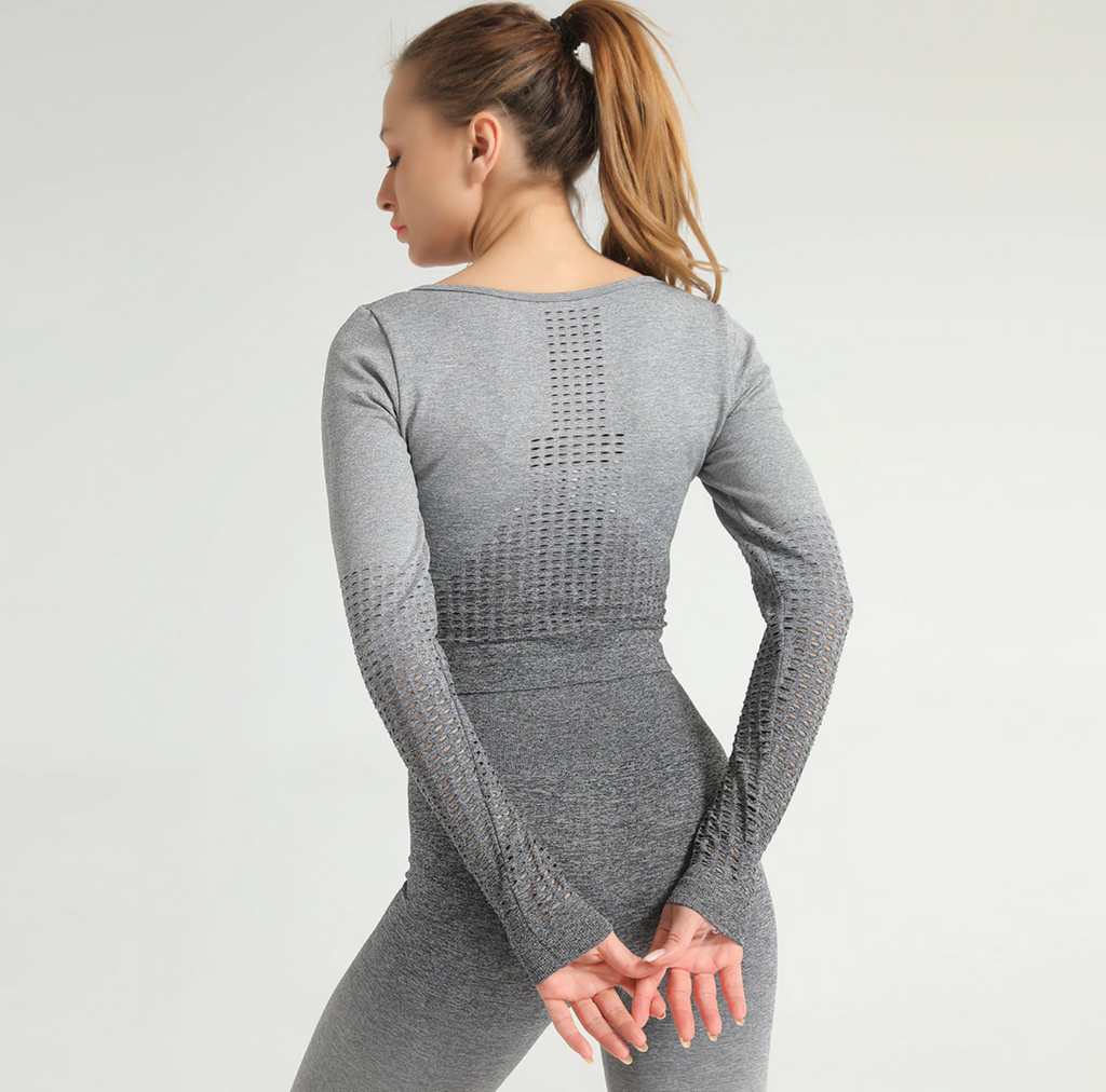 Astoria Seamless Ombre 2.0 Sleeved Crop - Grey