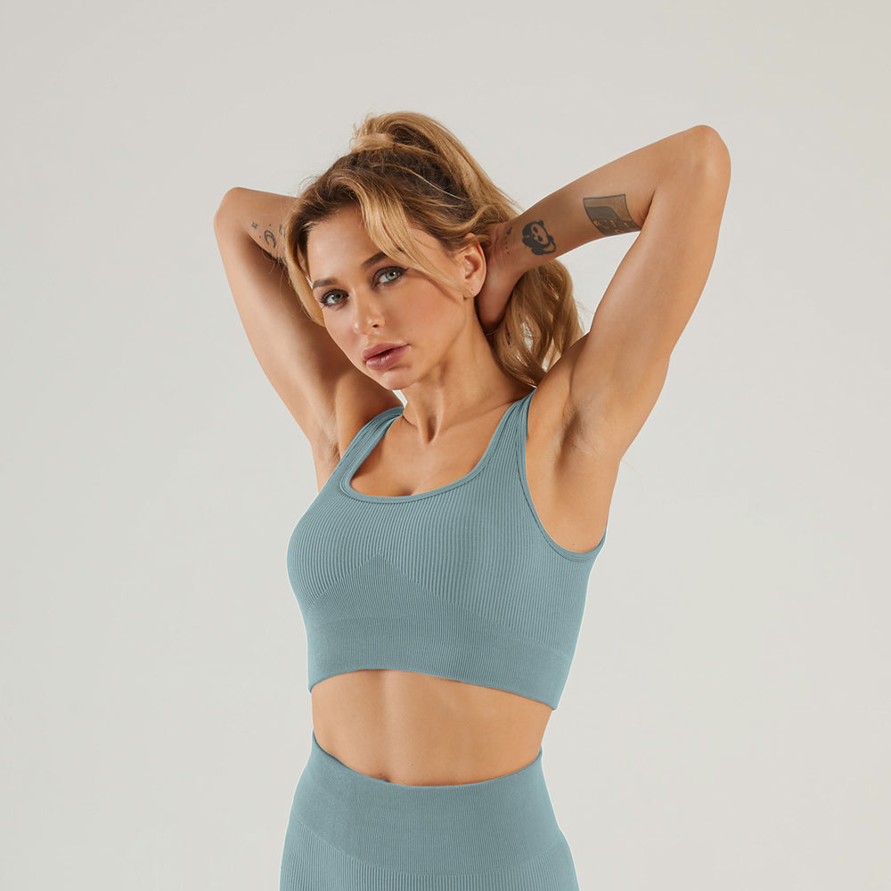 Astoria LUXE Ribbed Series Sports Bra - Stone Blue