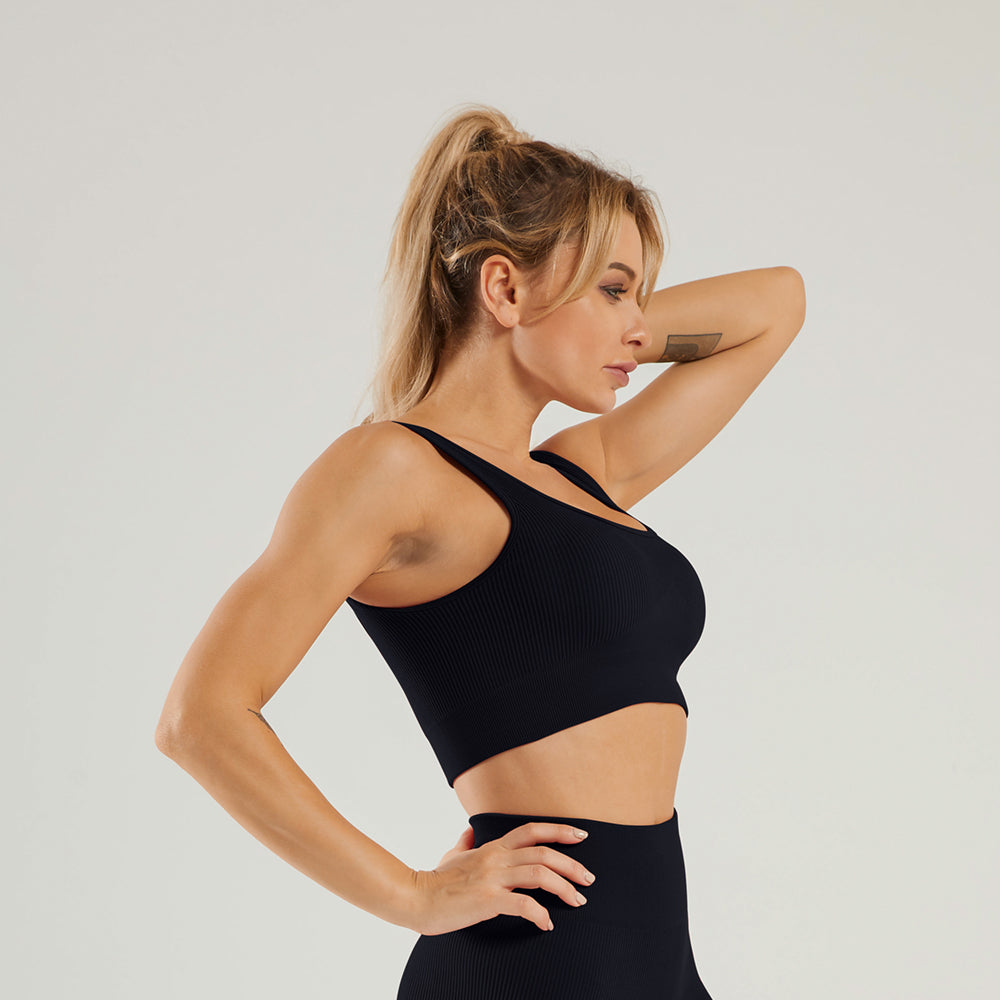 Astoria LUXE Ribbed Series Sports Bra - Black