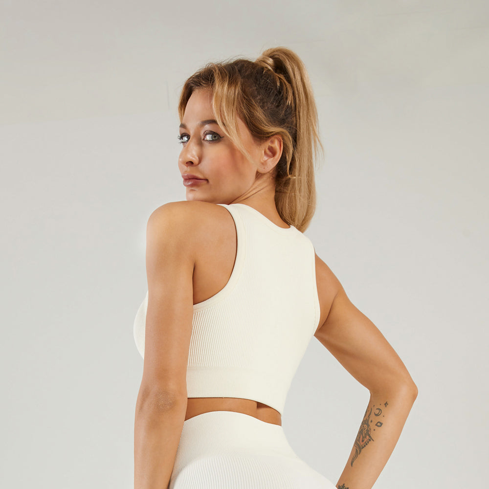 Astoria LUXE Ribbed Series Sports Crop - Creme