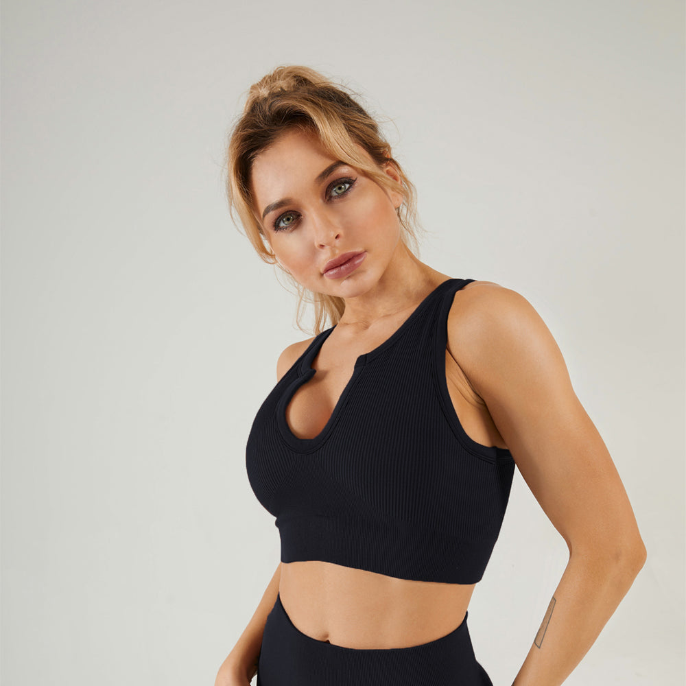 Astoria LUXE Ribbed Series Sports Crop - Black