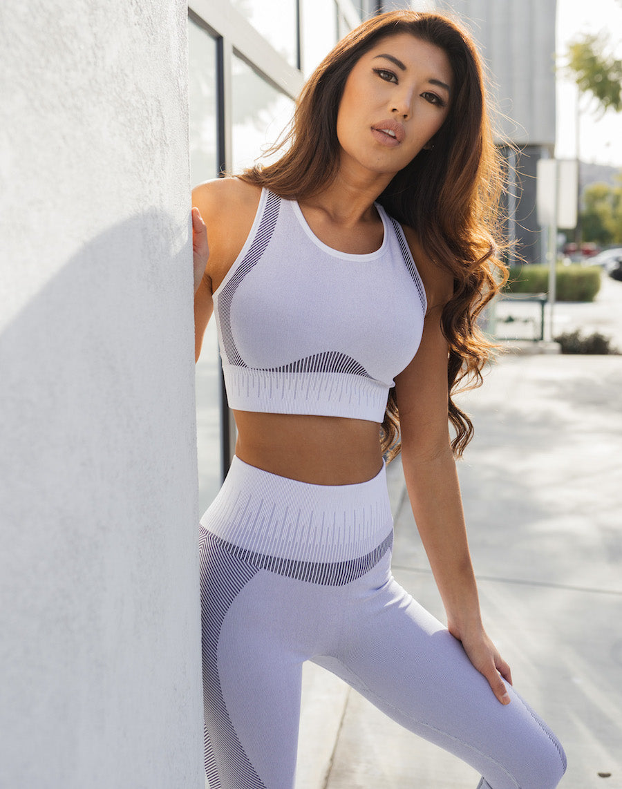 Astoria MOMENTUM Ribbed Sports Crop - Light Grey/Black
