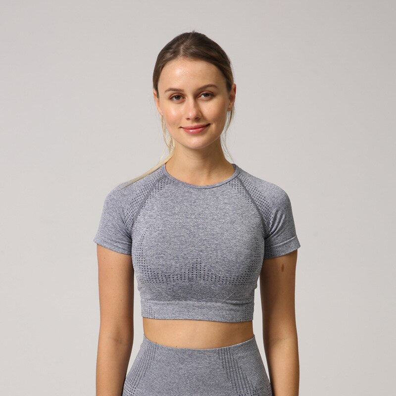 Astoria Velocity Cropped Tee - Ash Blue