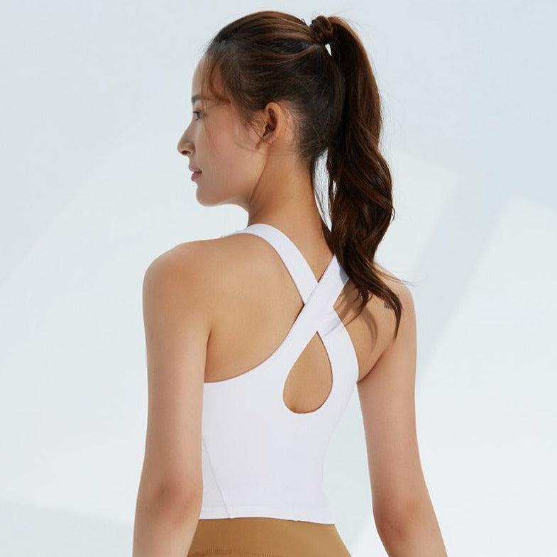 Astoria LIVE LUXE Open Back Sports Crop - White