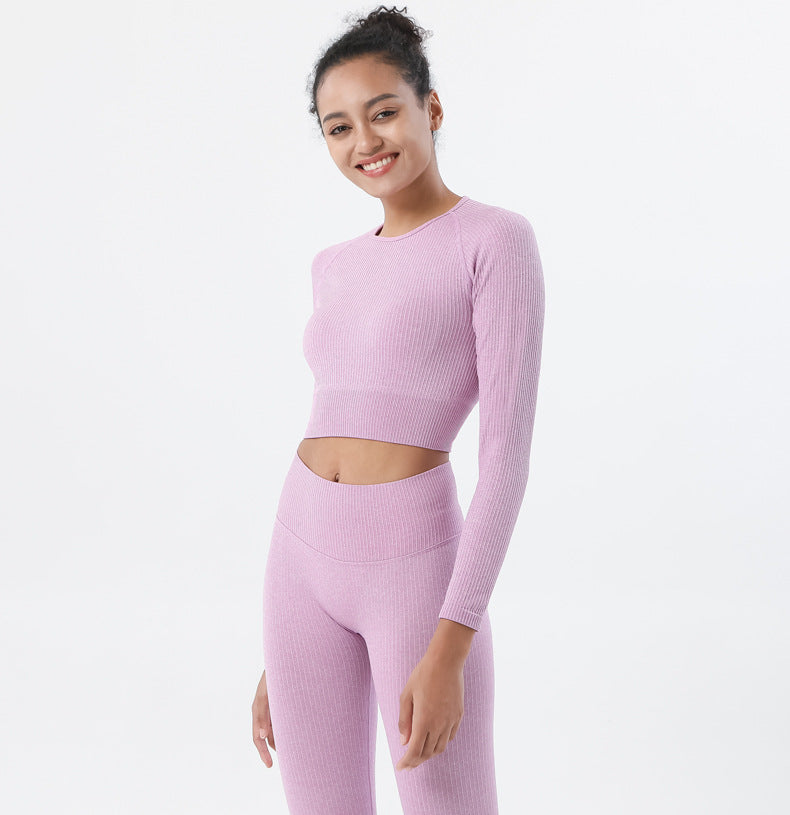 Astoria Seamless Ribbed Sleeved Crop - Rose Pink