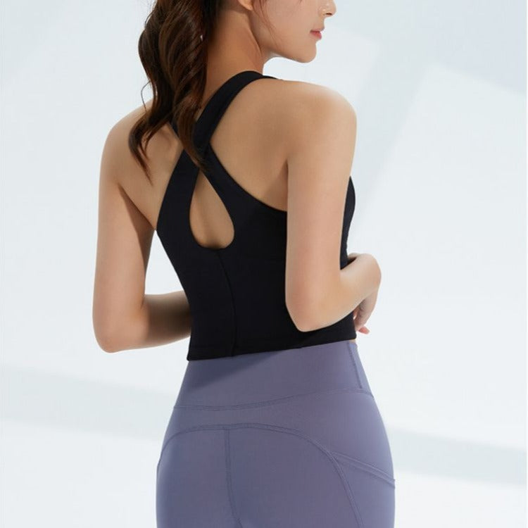 Astoria LIVE LUXE Open Back Sports Crop - Black