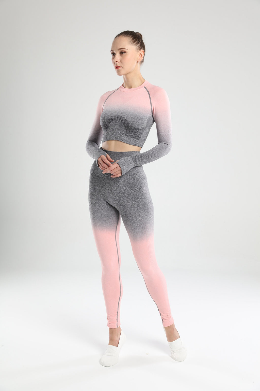 Astoria Seamless Ombre Sleeved Crop - Grey/Pink