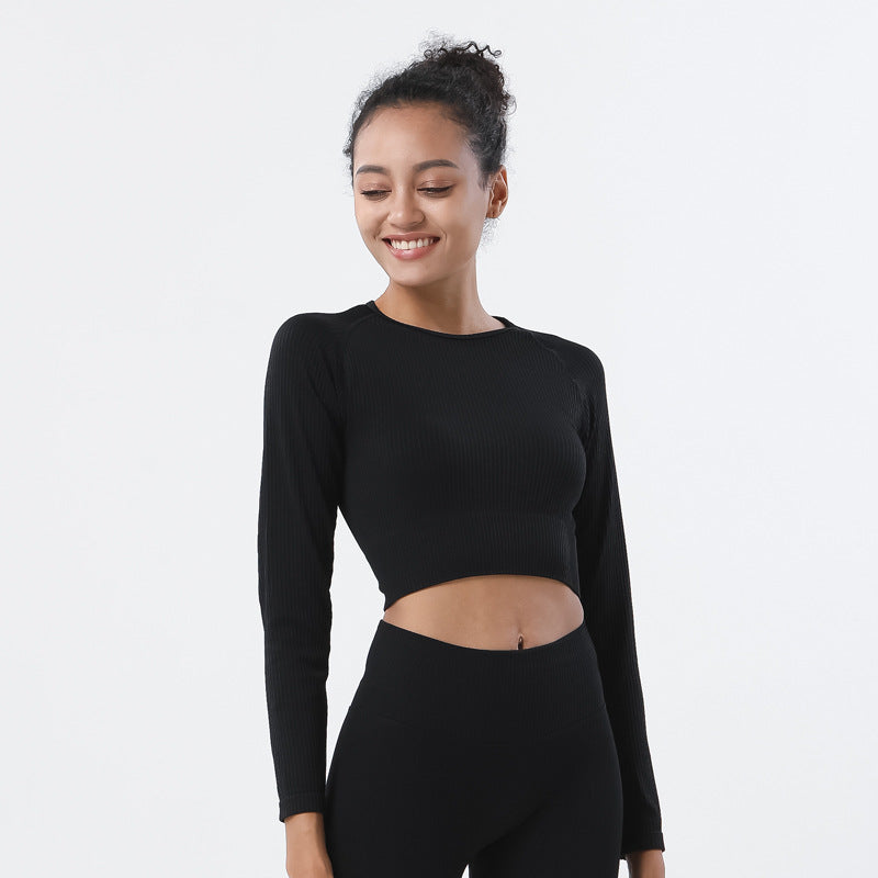 Astoria Seamless Ribbed Sleeved Crop - Black