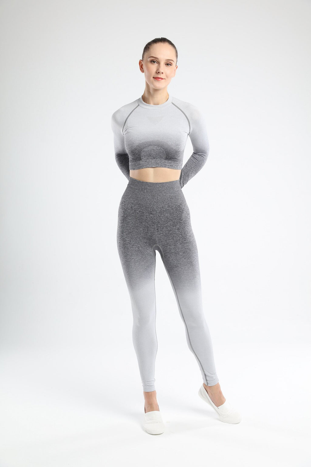 Astoria Seamless Ombre Sleeved Crop - Grey