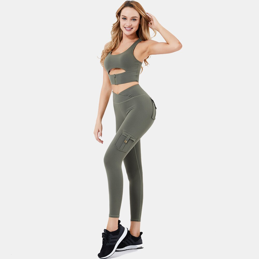 Astoria LUXE FLEX Sports Crop - Army Green