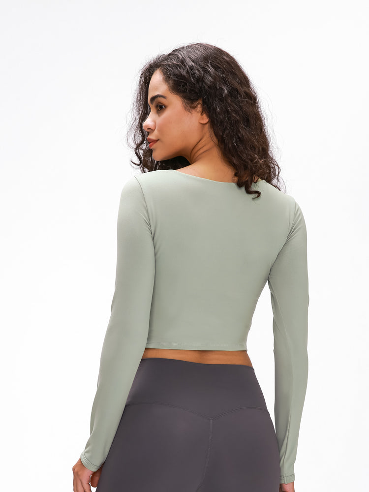 Astoria LUXE Sleeved Cut Out Sports Crop - Taupe Green