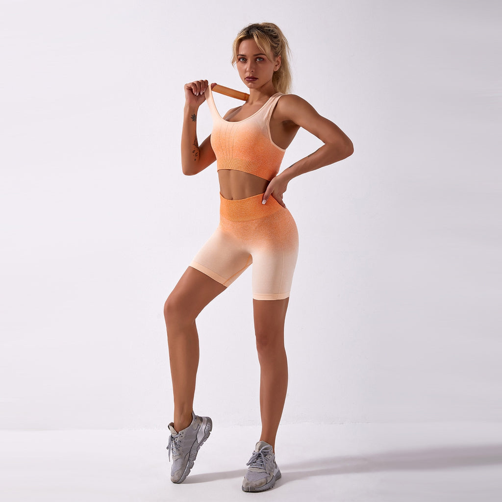 Astoria Seamless Ombre 2.0 Sports Crop - Orange Creme