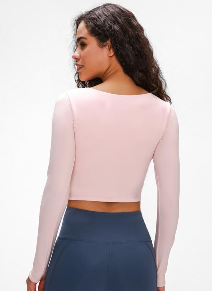 Astoria LUXE Sleeved Cut Out Sports Crop - Powder Pink