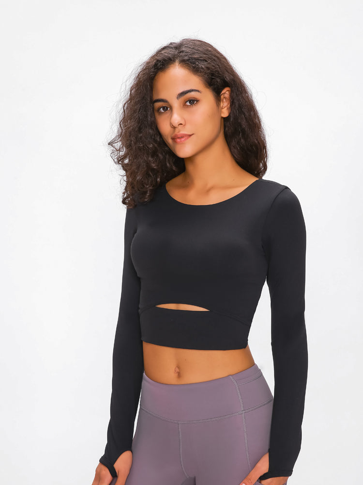 Astoria LUXE Sleeved Cut Out Sports Crop - Black