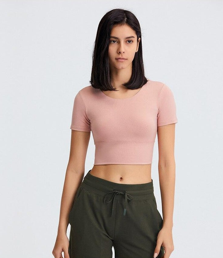 Astoria Seamless Sculpt Quarter-Sleeved Sports Crop - Pink