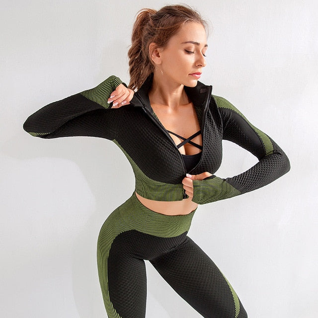 Astoria MOMENTUM Zip Crop - Lime/Black