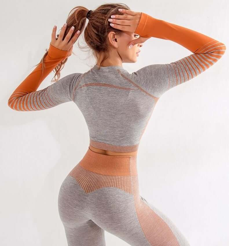 Astoria ENERGY Sleeved Crop - Grey/Orange